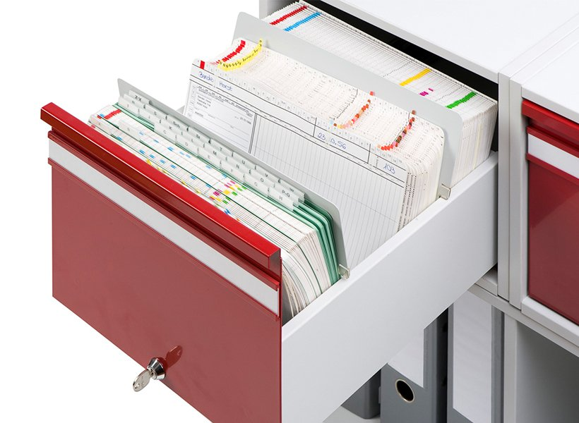 Image of cabinet for index cards.