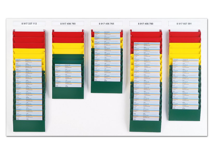 "Image Cascading Display Comparament Kanban ""Traffic Light""."