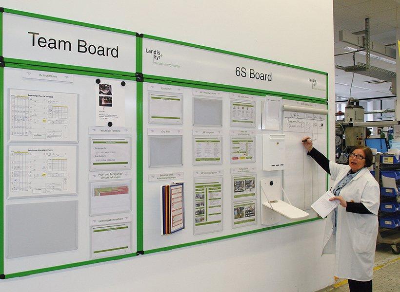 Frau visualisiert Informationen an einer Tafel.