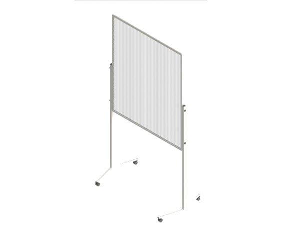 Kurze Spuckschutzwand aus Stegplattenmaterial.