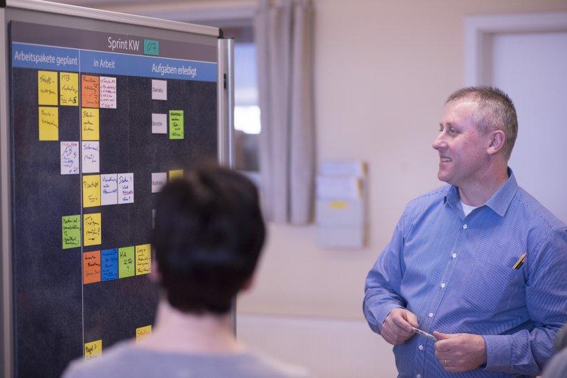 Teambesprechung mit dem TaskBoard zum agilen Projektmanagement von WEIGANG.