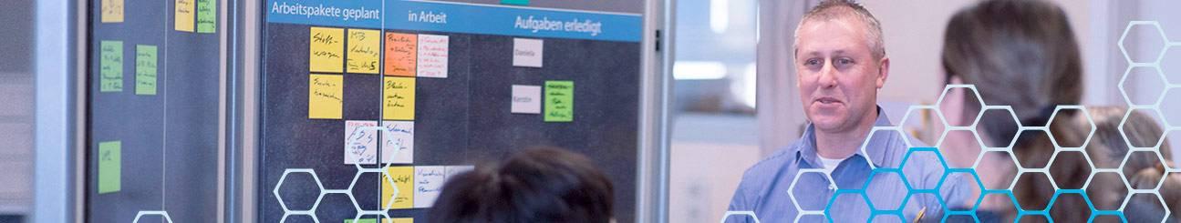 Team vor WEIGANG TaskBoard agiles Arbeiten.